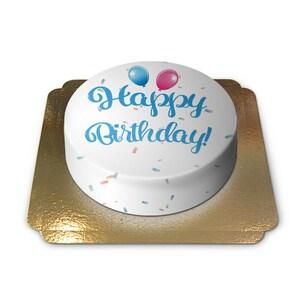 Happy Birthday Torte BLAU Schokoladenkuchen mit Schokoladenbuttercremefüllung 6 Portionen