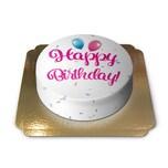 Happy Birthday Torte PINK Schokoladenkuchen mit Schokoladenbuttercremefüllung 6 Portionen