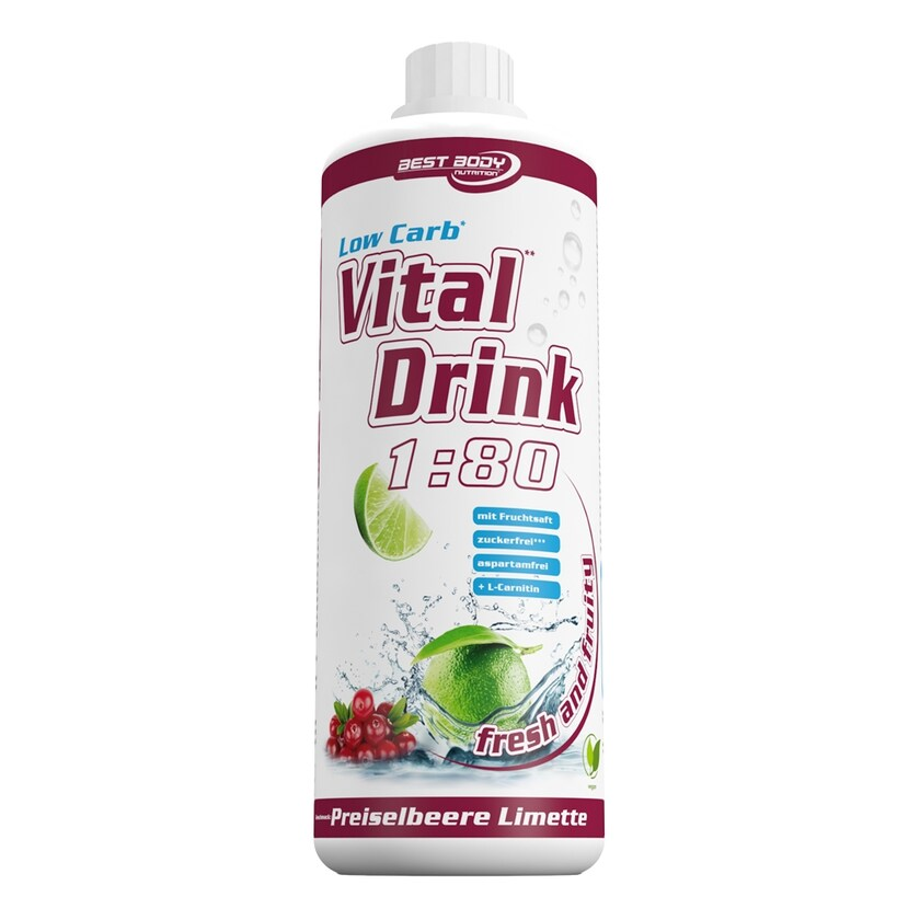 Best Body Nutrition Vital Drink Preiselbeer Limette 1000ml Flasche