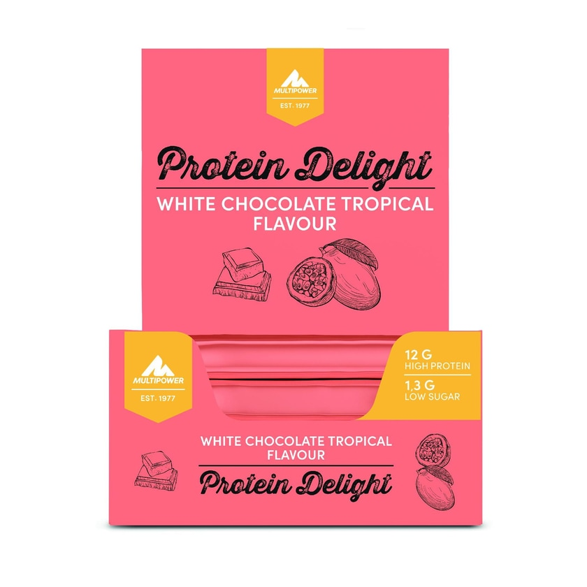 Multipower Power Delight White Chocolate Tropical 18 x 35g Riegel