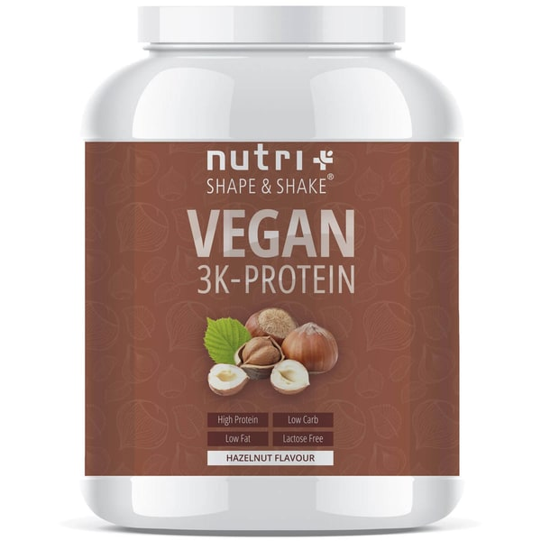 Nutri-Plus Shape & Shake Vegan 3K Protein Haselnuss 1000g Dose