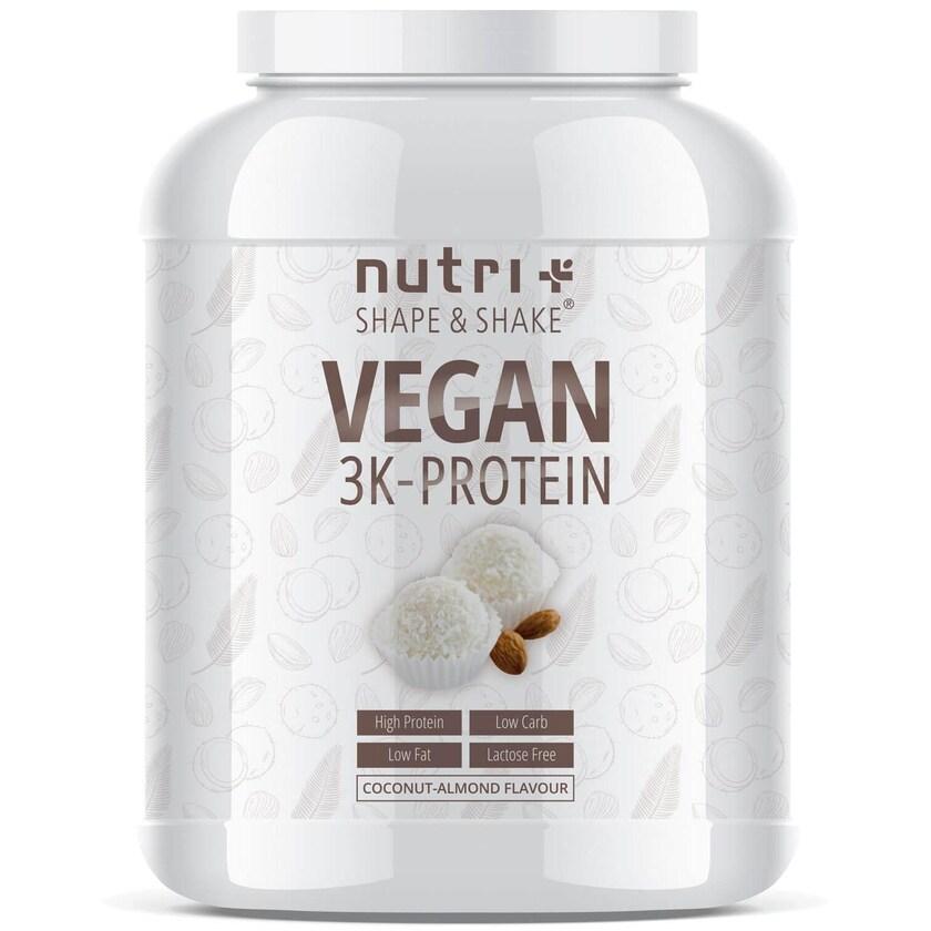 Nutri-Plus Shape & Shake Vegan 3K Protein Kokos-Mandel 1000g Dose