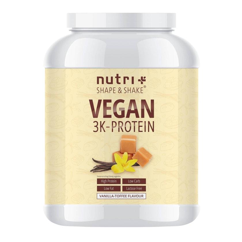 Nutri-Plus Shape & Shake Vegan 3K Protein Vanilla Toffee 1000g Dose