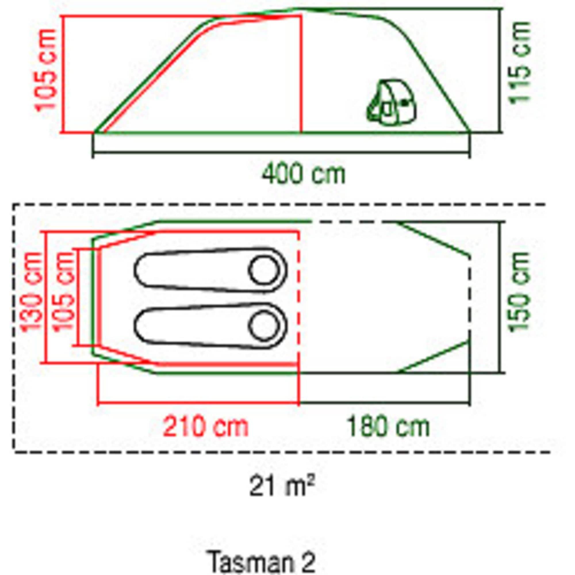 Coleman Zelt 2 Personen Tunnelzelt Tasman 2