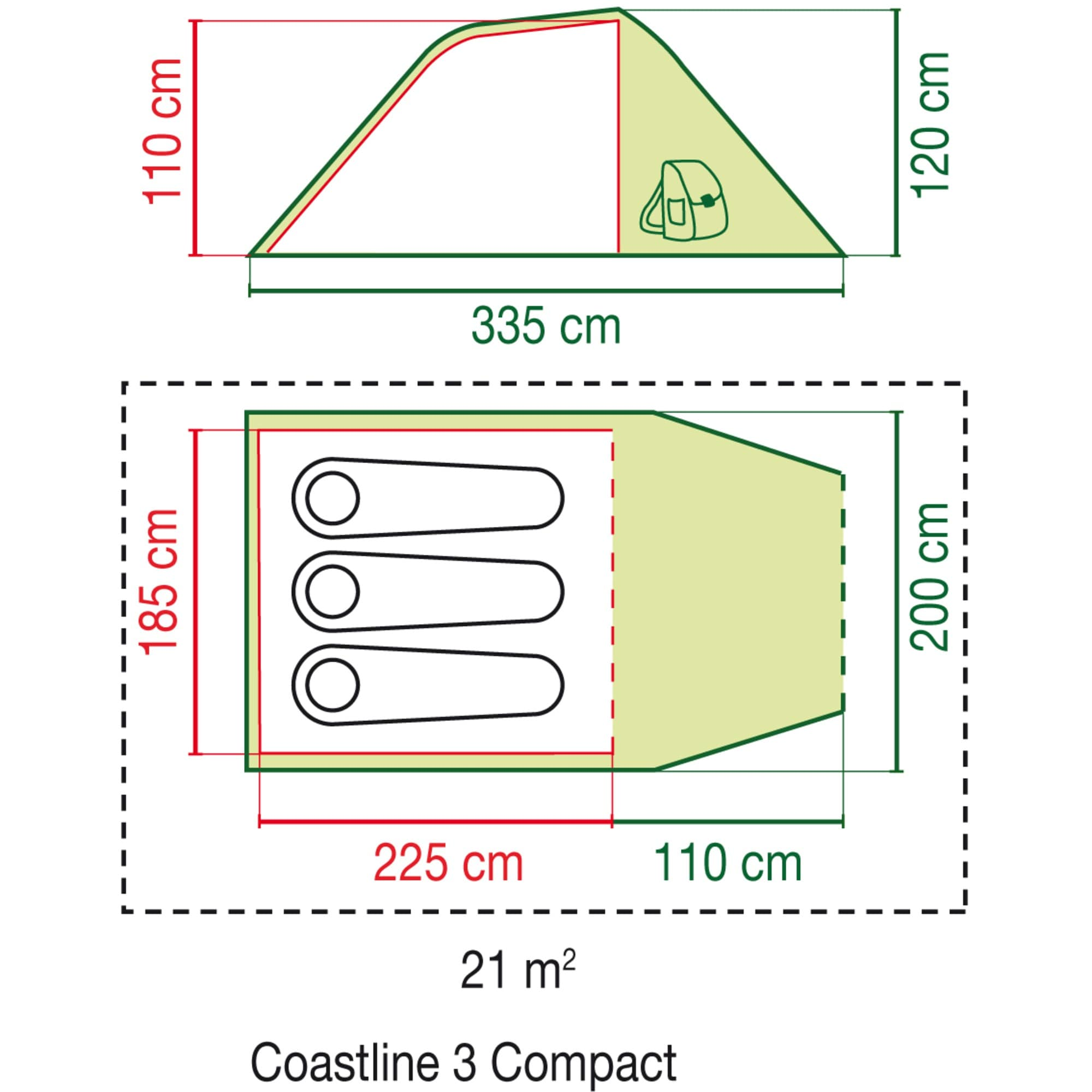 Coleman Zelt 3 Personen Tunnelzelt Coastline 3 Compact