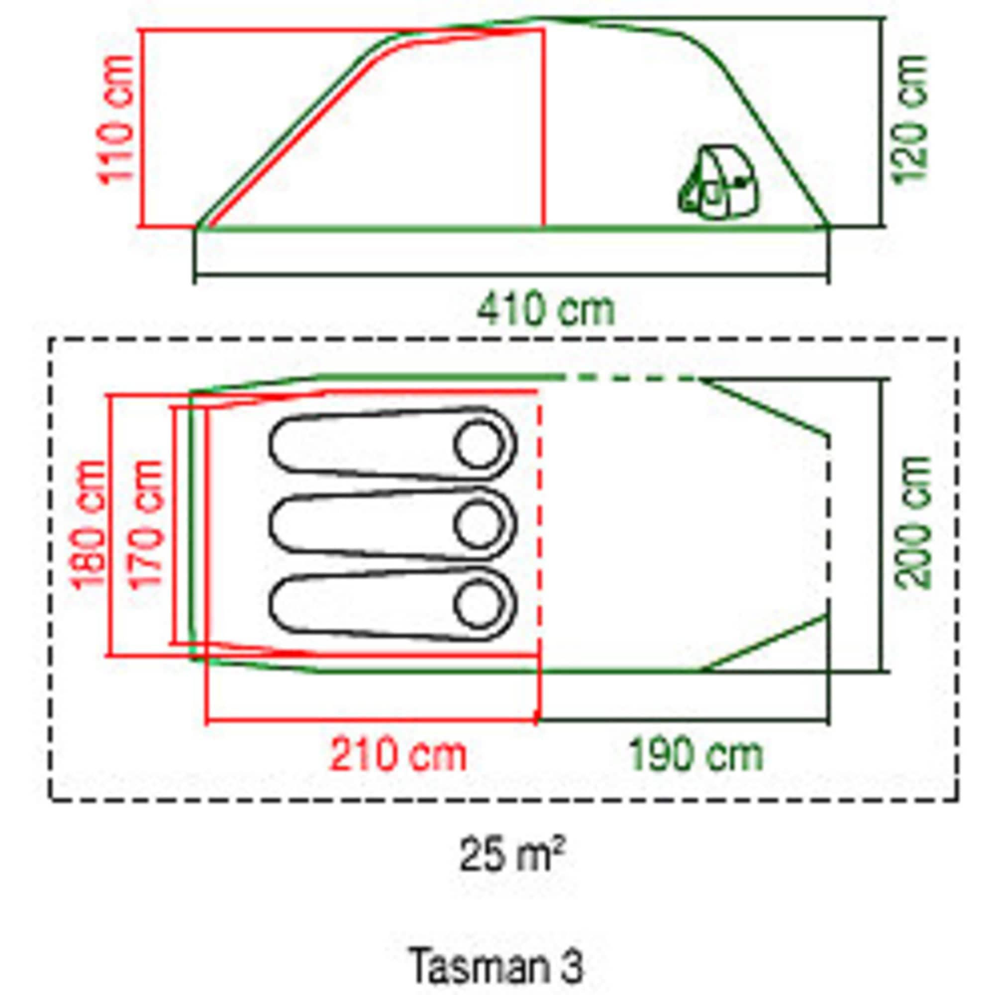 Coleman Zelt 3 Personen Tunnelzelt Tasman 3