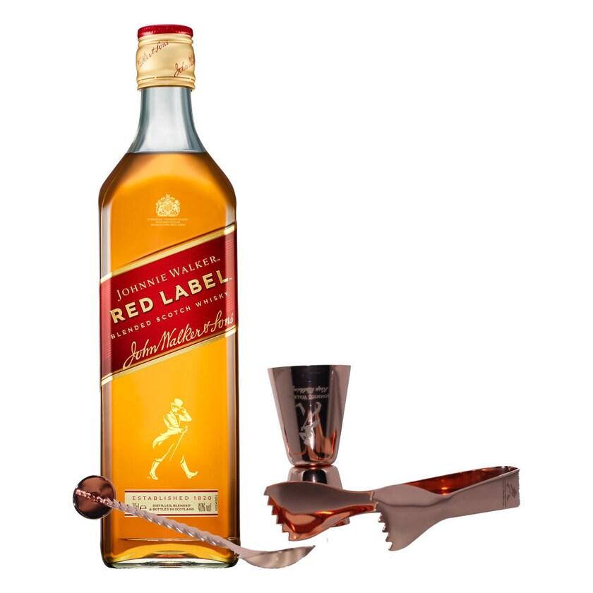 Johnnie Walker Red Label Set mit Bar Besteck 40% 700 ml