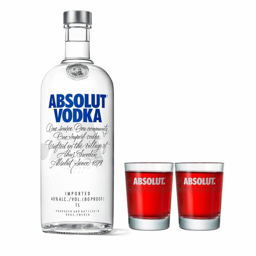 Absolut Vodka Original Set mit 2 Shot Gläsern 40% 1 L