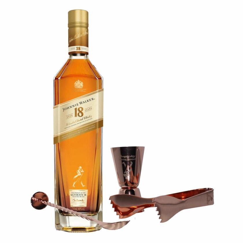Johnnie Walker Aged 18 Jahre Set mit Bar Besteck 40% 700 ml