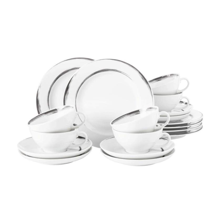 Seltmann Weiden Paso Grey Brush Teeservice 18-teilig