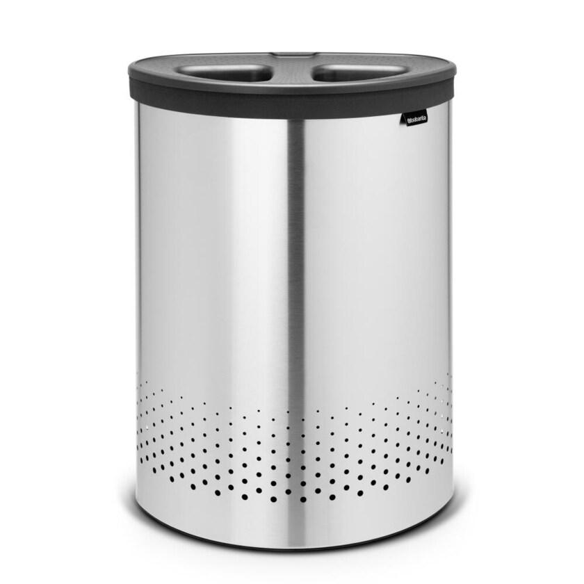 Brabantia Wäschekorb mit Kunststoffdeckel Matt Steel 55l