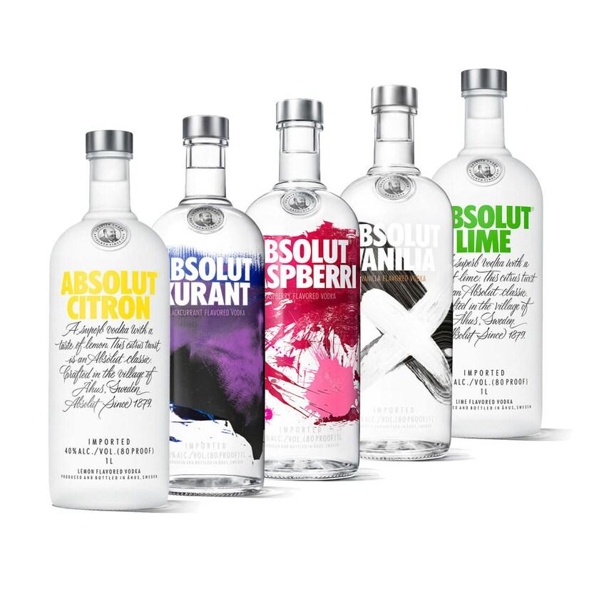 Absolut Vodka Set Citron + Kurant + Lime + Raspberri + Vanilia 5x1 L