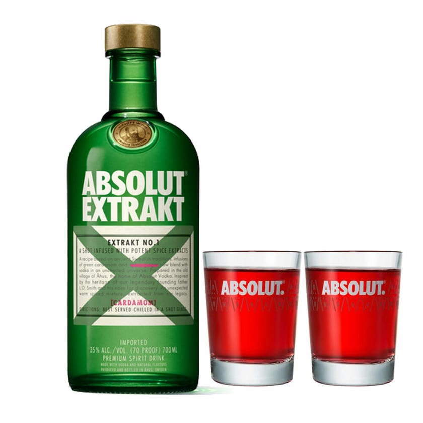 Absolut Vodka Extrakt Set mit 2 Shot Gläsern 35% 700 ml