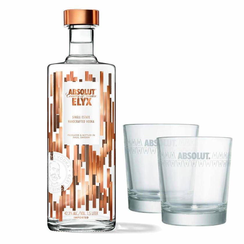 Absolut Vodka Elyx Set mit 2 Gläsern 42.3% 1.5 L