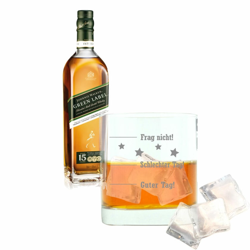 Johnnie Walker Green Label 15 Y mit graviertem Glas 43% 700 ml