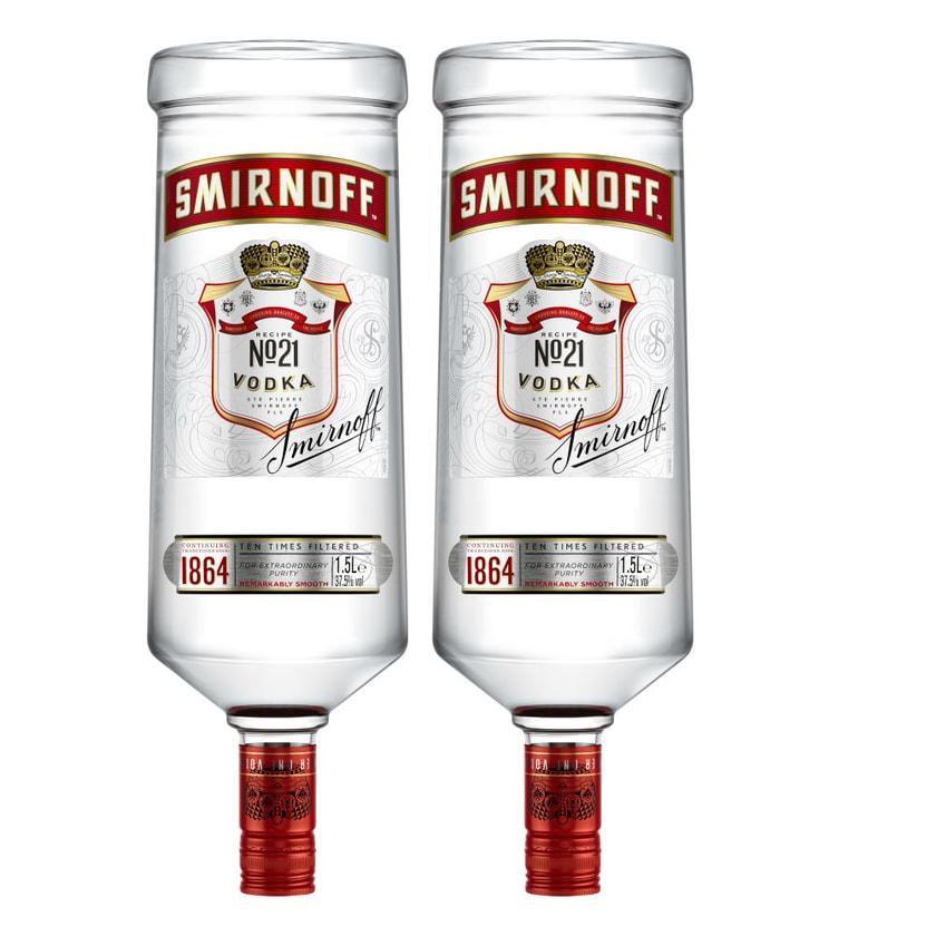 Smirnoff Red No. 21 Premium Vodka Triple Destilled 37.5% 2x1.5 L