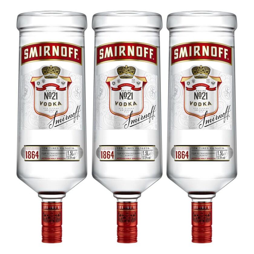 Smirnoff Red No. 21 Premium Vodka Triple Destilled 37.5% 3x1.5 L