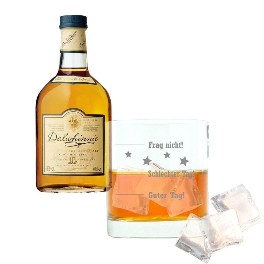 Dalwhinnie 15 Years Single Malt mit graviertem Glas 43% 700 ml