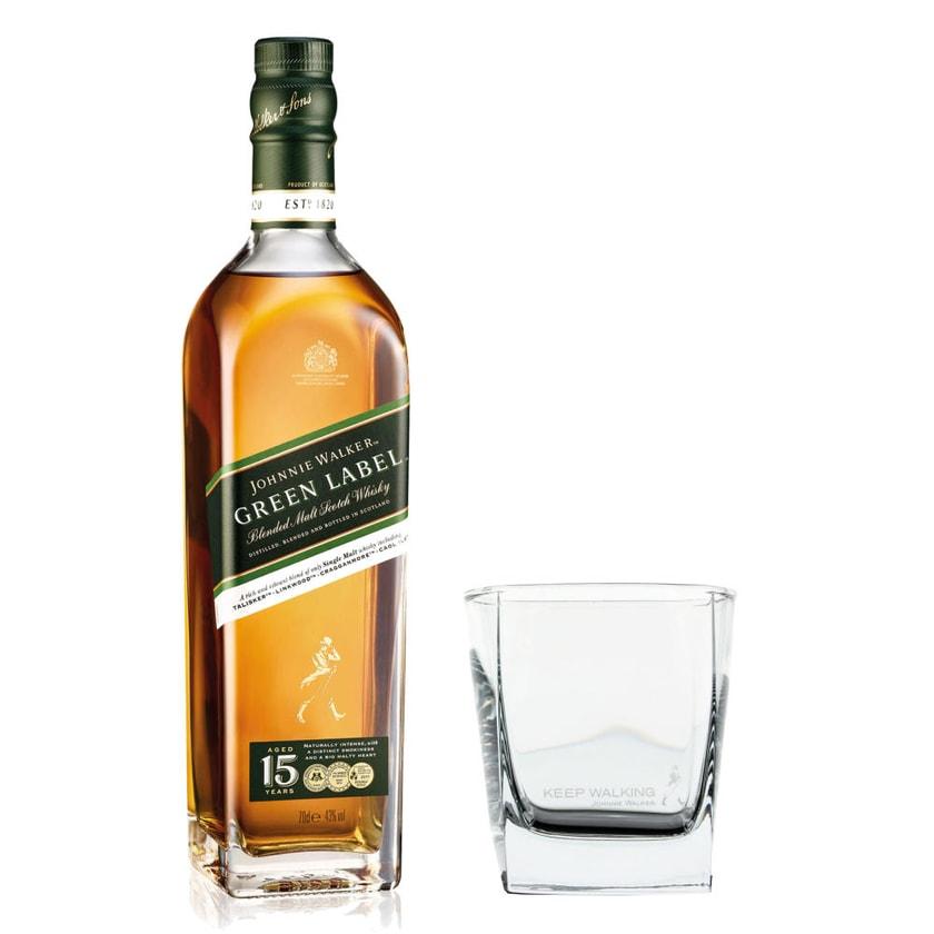 Johnnie Walker Green Label Set mit Tumbler Glas 43% 700 ml