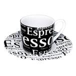 Könitz Schrift auf Schwarz Espressotasse mit Untertasse 85 ml