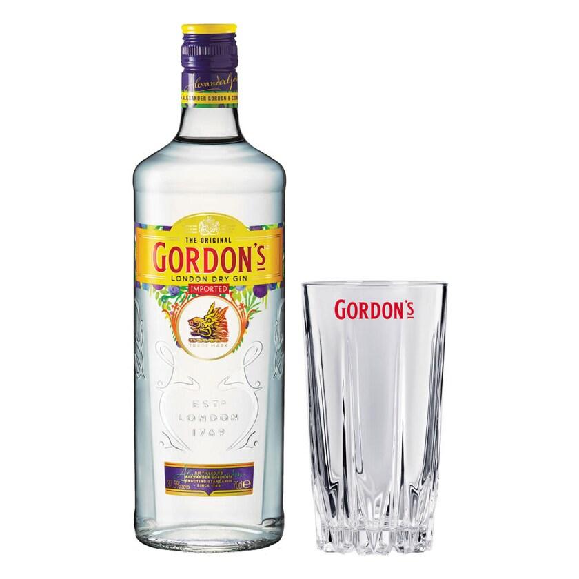 Gordon´s London Dry Gin Set mit Bar Glas 37.5% 700 ml