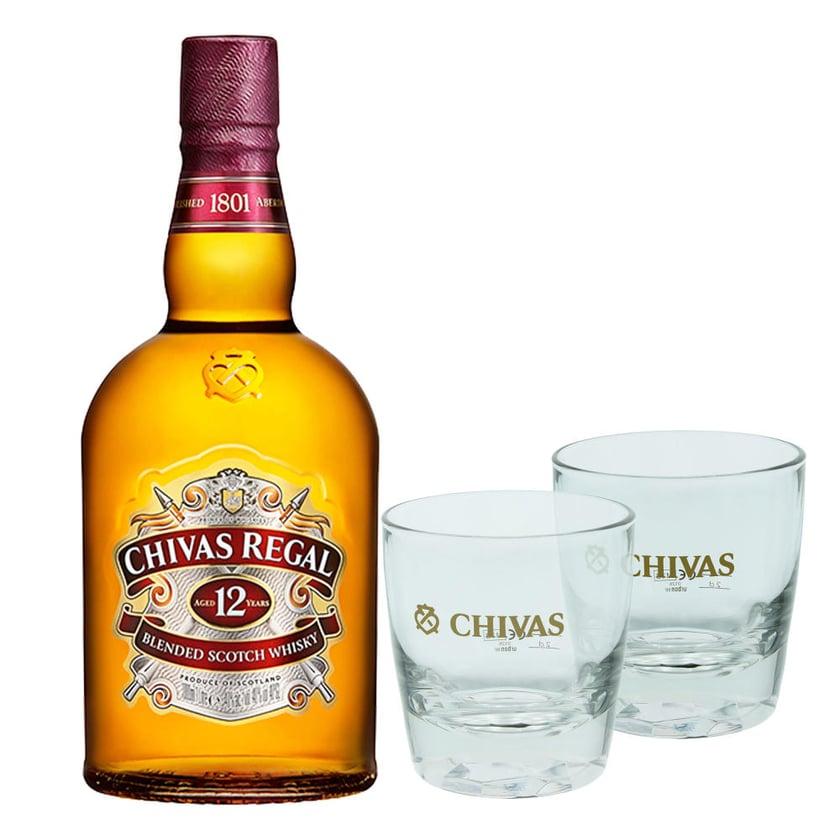 Chivas Regal 12 Jahre Blended Scotch Whisky Set mit 2 Gläsern 40% 1 L