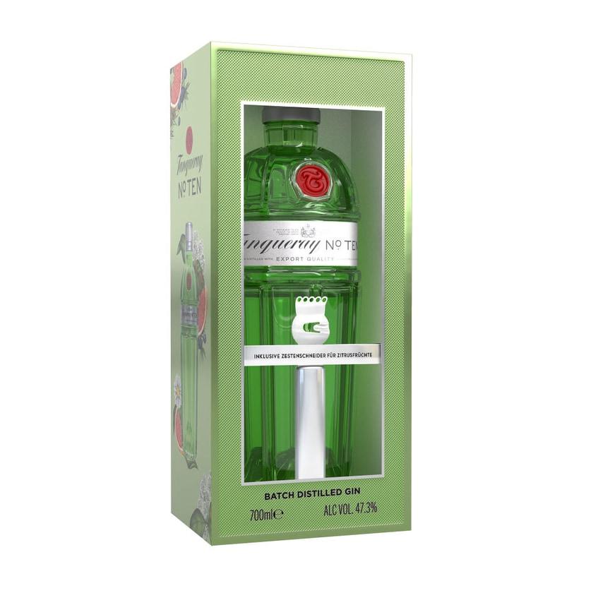 Tanqueray No. Ten Gin Box mit Zestenschneider 47.3% 700 ml