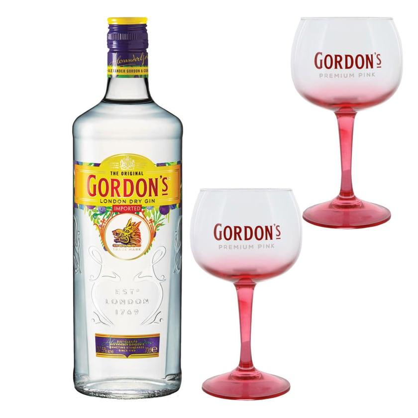 Gordons London Dry Gin Set mit 2 Gin-Gläsern 37.5% 700 ml