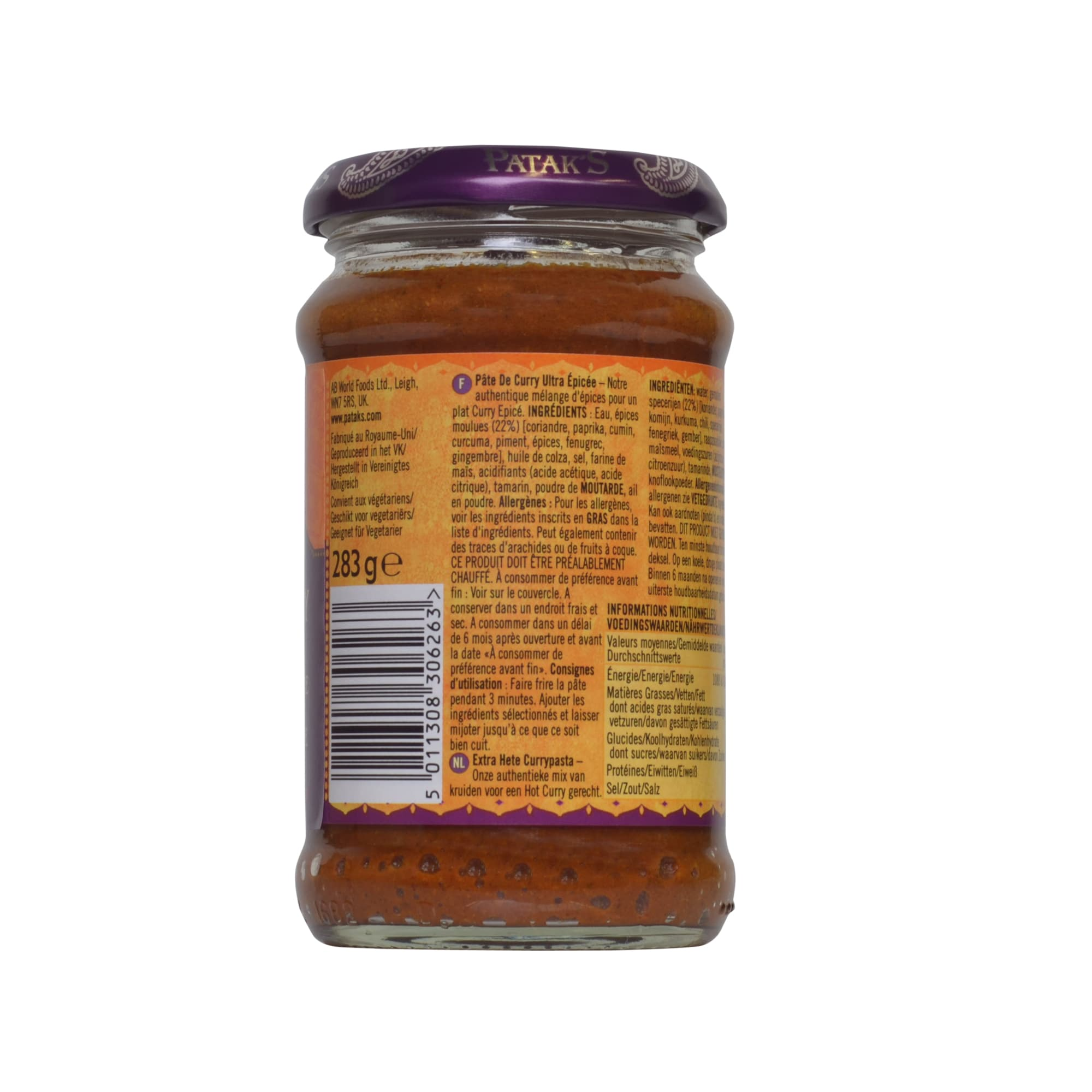Patak's Extra Hot Curry Paste extra scharf 283g