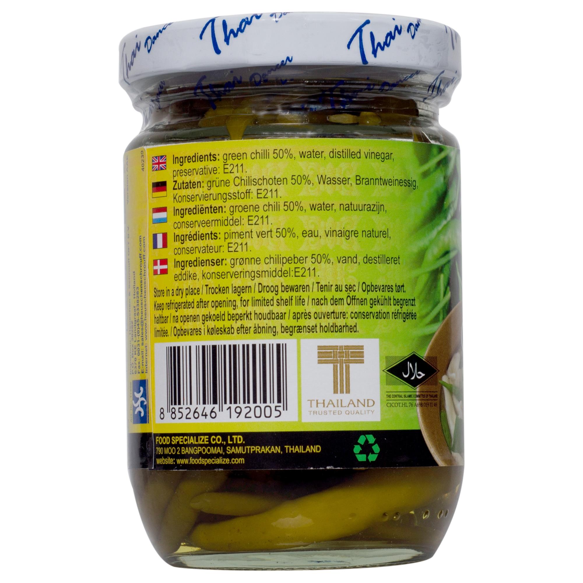 Thaidancer Pickled green chilli grüne Thai Chili 100g