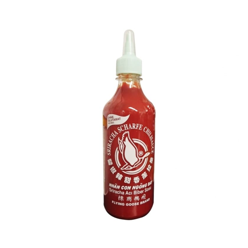 Flying Goose Sriracha Chilisauce ohne Glutamat weißer Deckel 455 ml