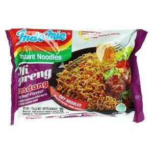 Indomie Instant Brat Nudeln mit Mi Goreng Rendang Beef Rind Geschmack Dry Noodles 80 g