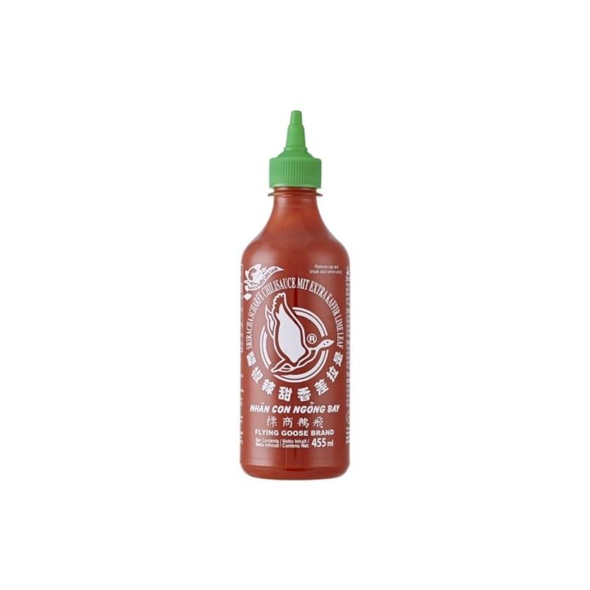 Flying Goose Sriracha Chilisauce mit Kaffir Limette hell grüner Deckel 455ml