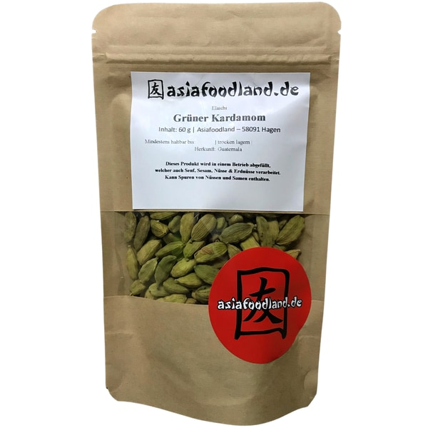 Asiafoodland grüner Kardamom ganz Elaichi 60 g