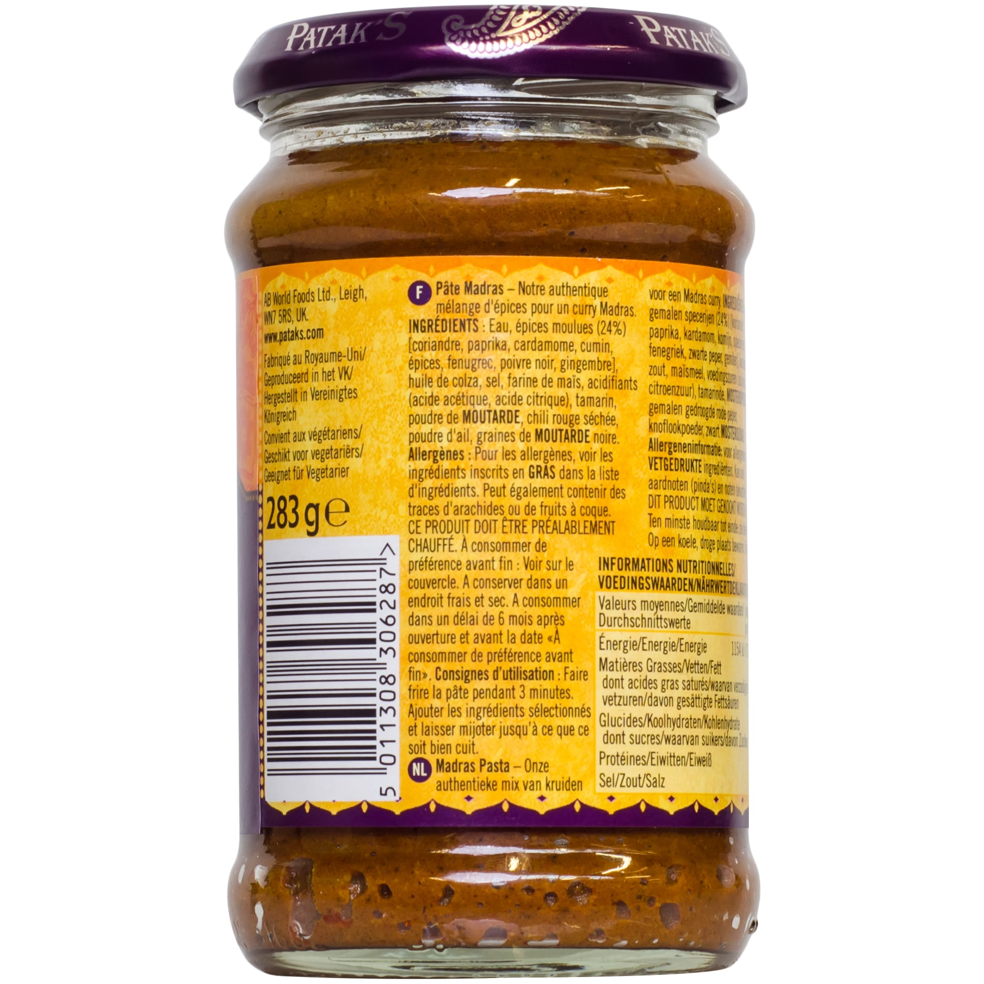 Patak's Madras indische Curry Paste scharf 283g