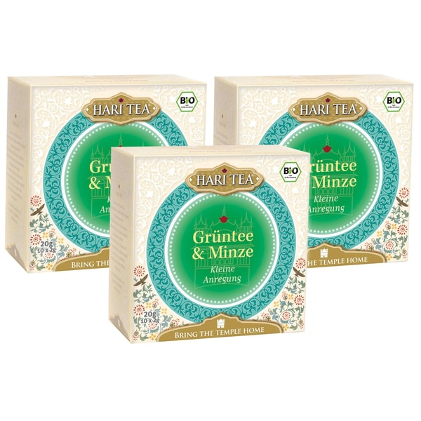 Hari Tea Bio Grüntee & Minze Teemischung 3x20g