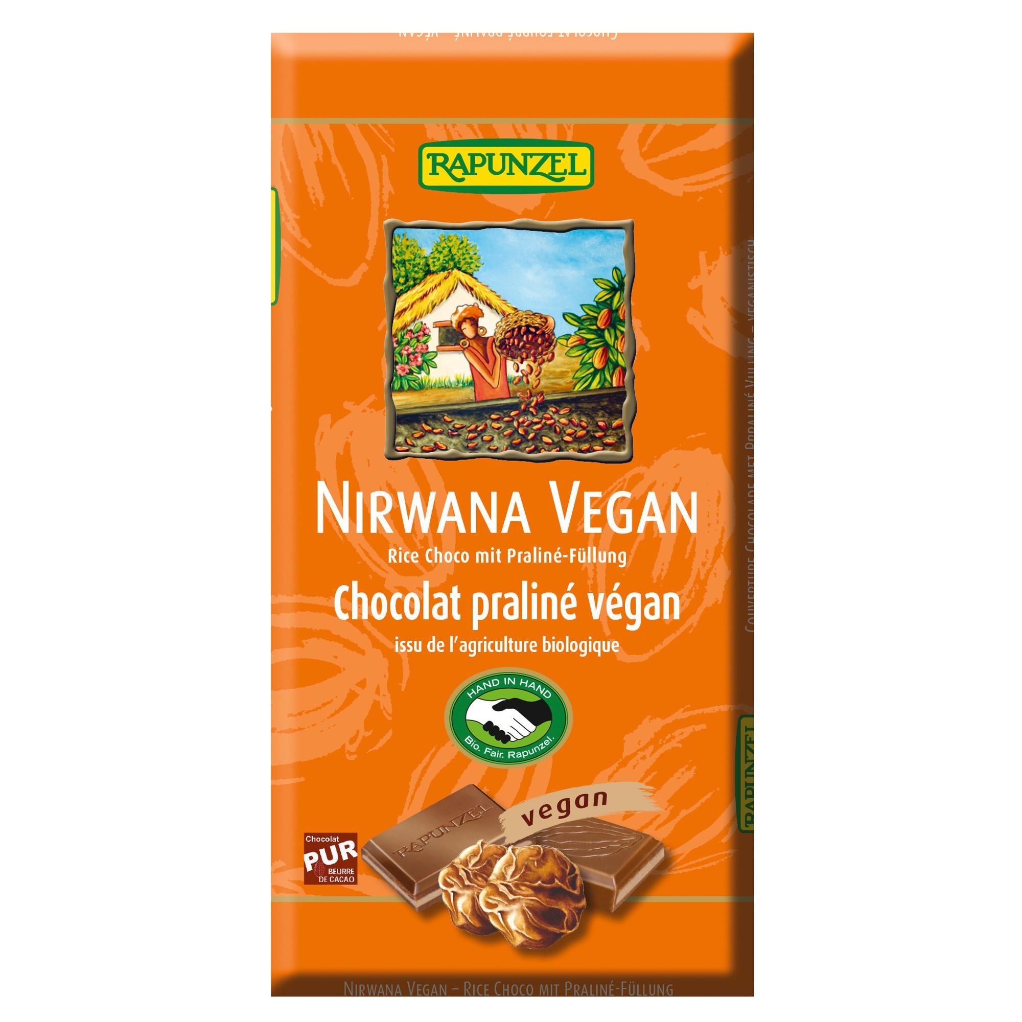 Rapunzel Bio Nirwana Vegan Schokolade Rice Choco mit Praliné-Füllung 100g