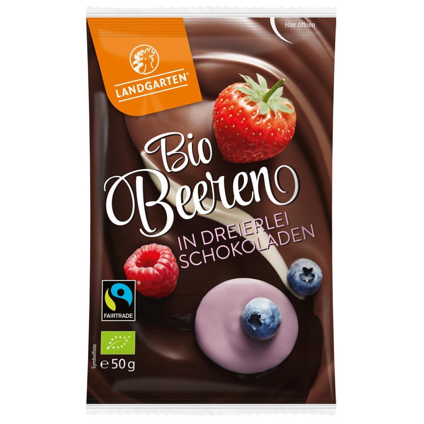 Landgarten Bio Beeren in dreierlei Schokoladen 50g