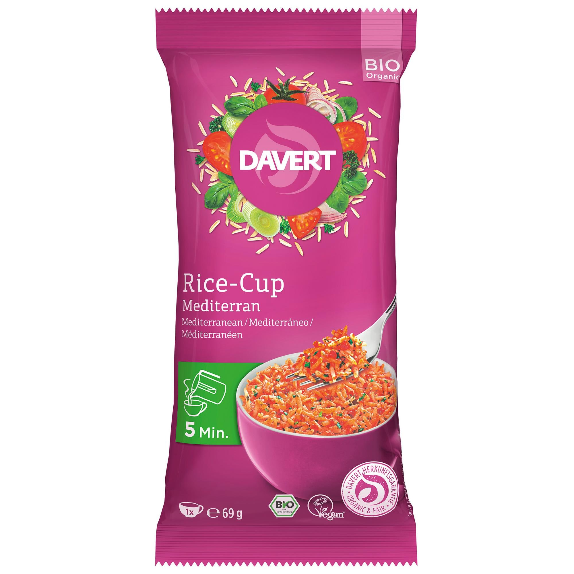Davert Bio Rice-Cup Mediterran 69g
