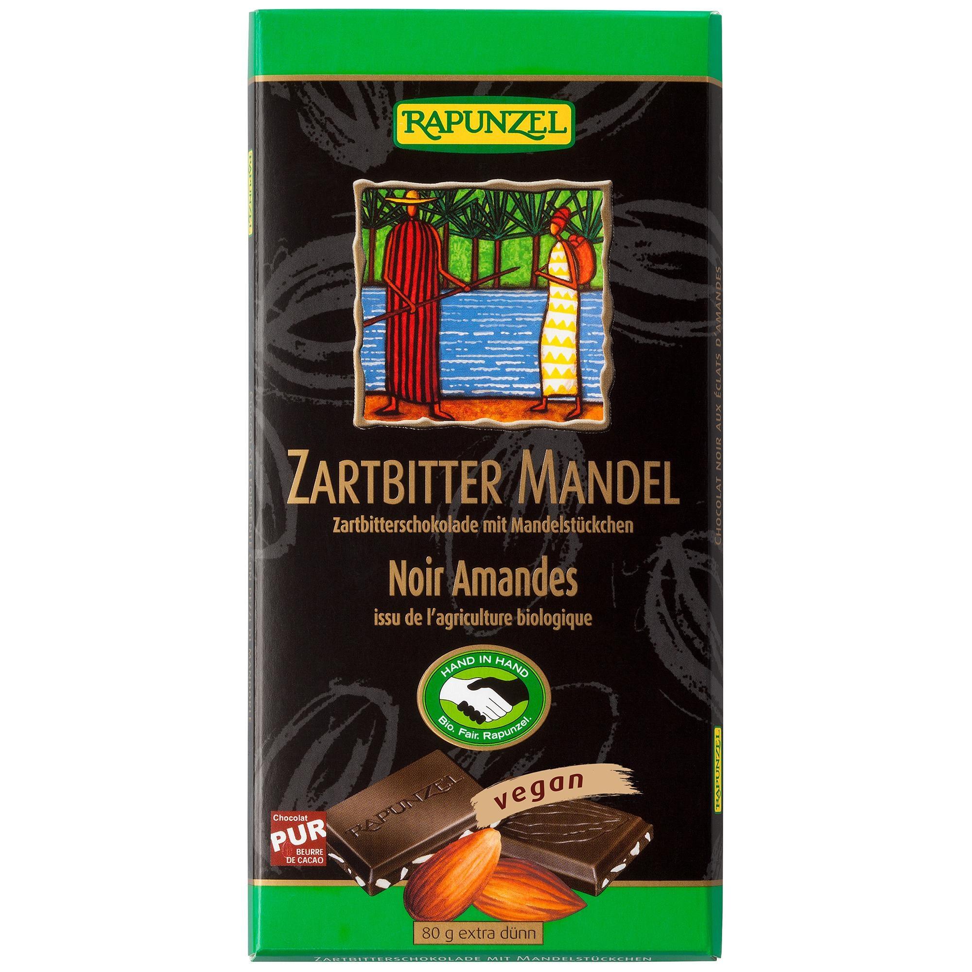 Rapunzel Bio Zartbitter Schokolade mit Mandelstückchen 55% 80g
