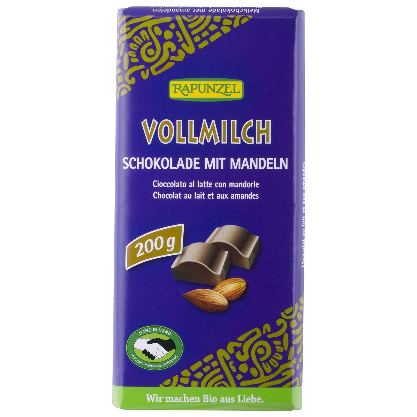 Rapunzel Bio Vollmilch Schokolade mitganzen Mandeln 200g