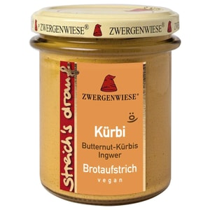 Zwergenwiese Bio Brotaufstrich Streichs drauf Kürbi Butternut-Kürbis - Ingwer 160g