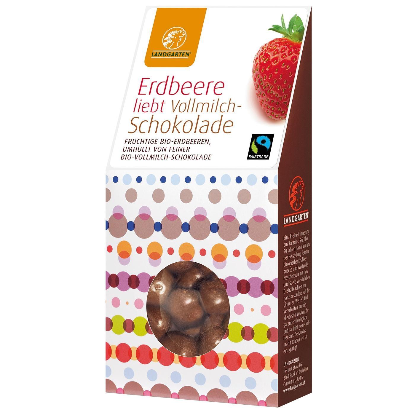 Landgarten Bio Erdbeere liebt Vollmilch-Schokolade 90g
