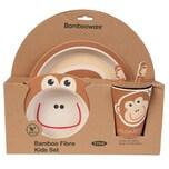 Biozoyg 5-teiliges Premium Bambus Kindergeschirr Set Affe
