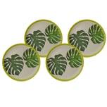 Biozoyg 4 Stück Bambus Geschirr Teller flach Jungle Design