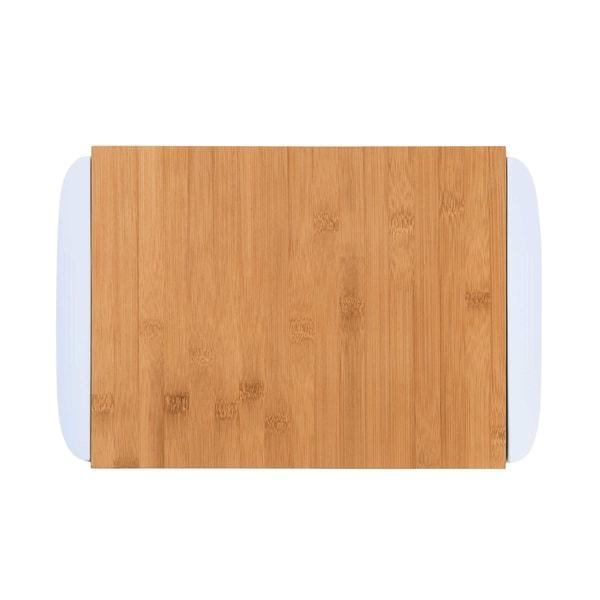 Butlers Bamboo Bambusbrett mit 2 Auffangschalen weiß