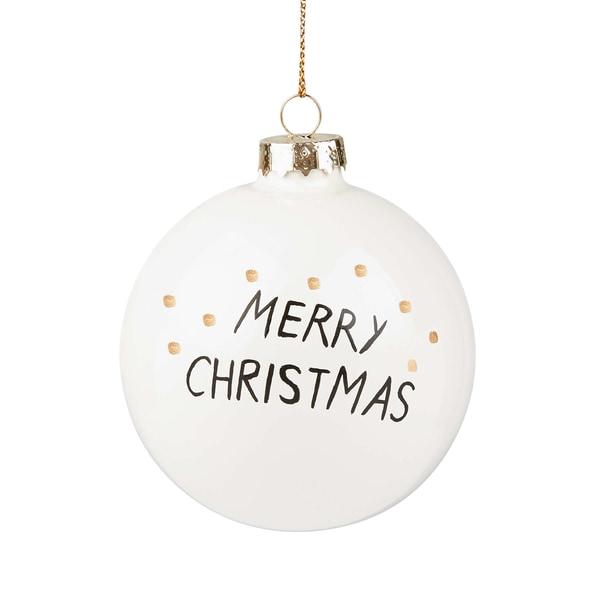 Butlers Hang On 4x Weihnachtskugel XMAS Ø 8 cm Weiß