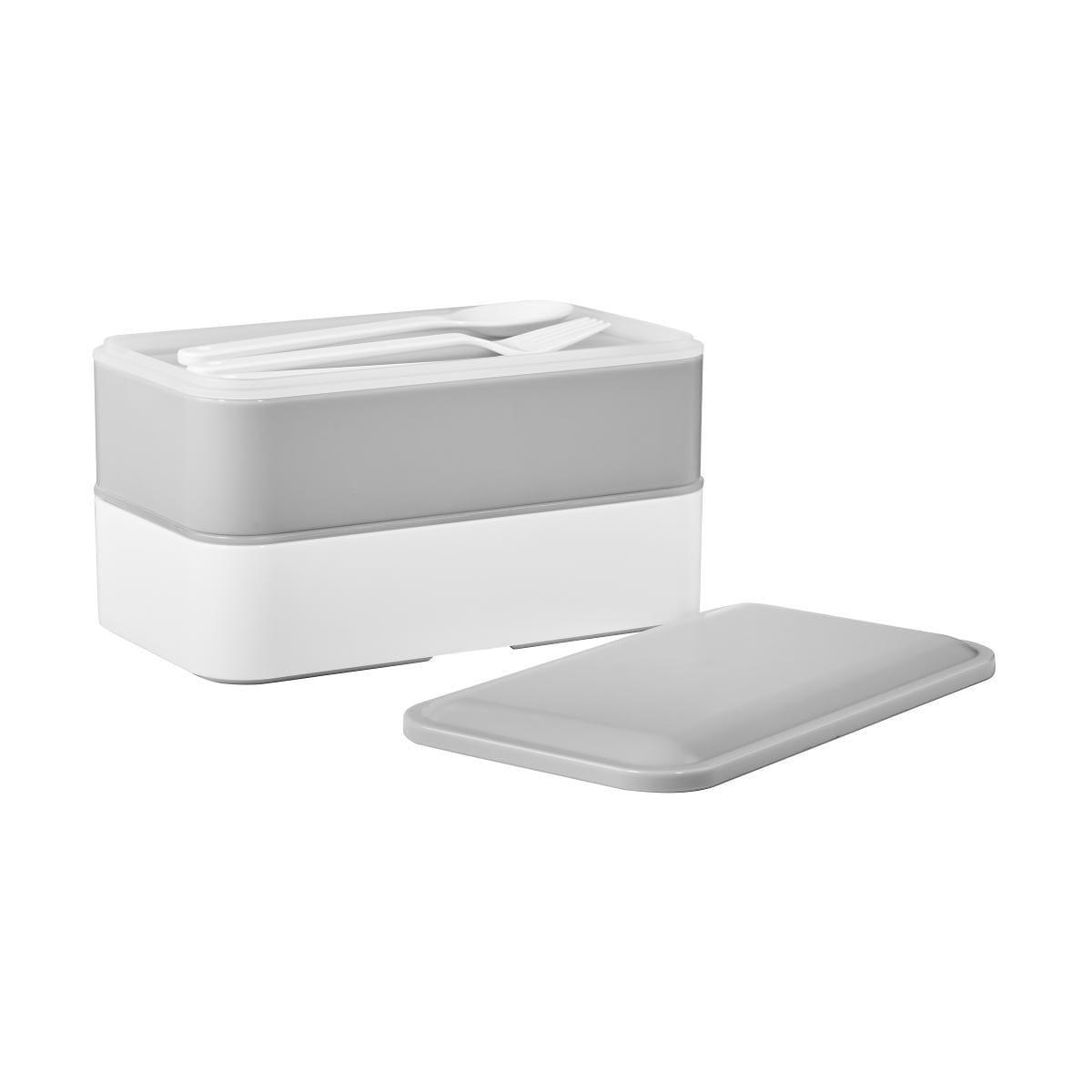 Butlers Snack Pack Lunchbox inkl. Besteck grau-weiss