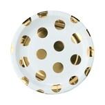 Butlers Golden Dots Pappteller goldene Punkte Ø 23 cm gold-weiss