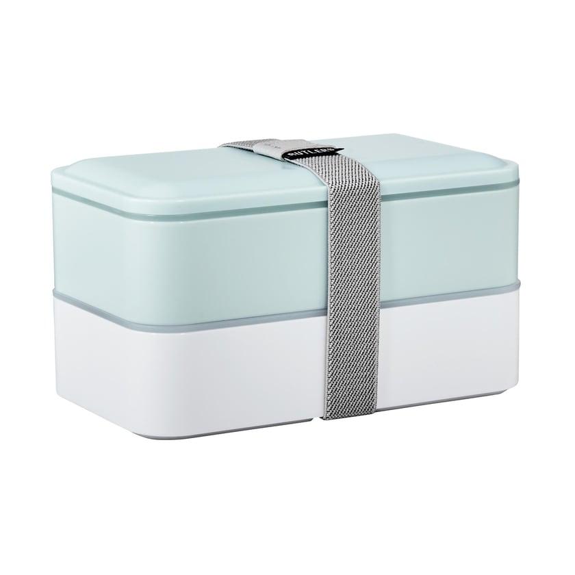 Butlers Snack Pack Lunchbox inkl. Besteck hellblau/weiß